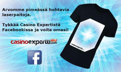 CasinoExpertti arvonta pimeässä hohtava laser t-paita